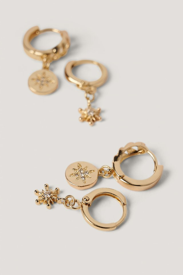 Double Pack Star Pendant Hoops Gold