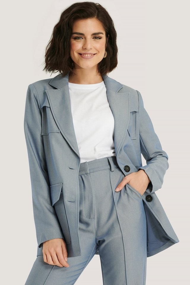 Light Blue Double Pocket Blazer