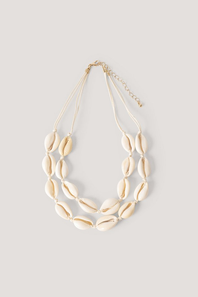 Double Shell Layered Necklace Natural