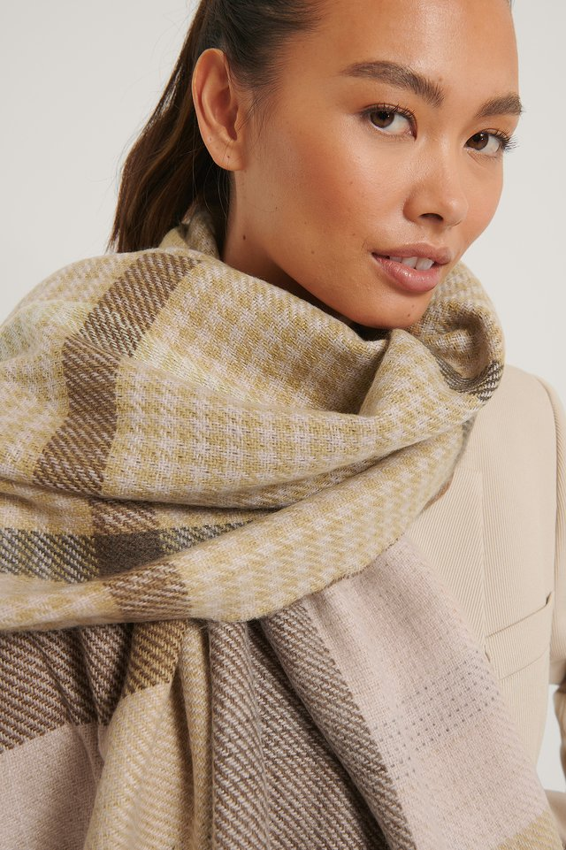 Double Sided Checkered Scarf Multicolor