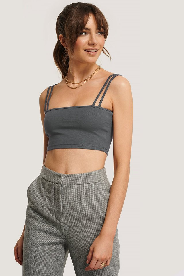 Double Strap Jersey Top Grey