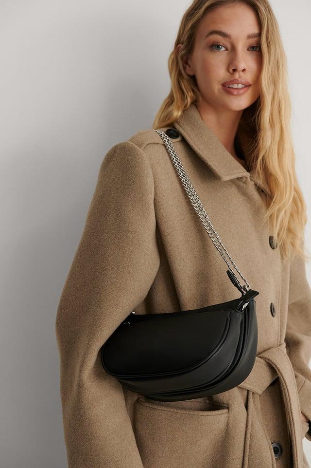 Black Doubled Shoulder Bag