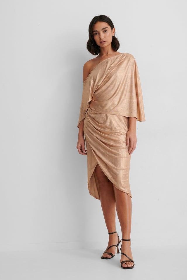 Beige Drape Asymmetric Dress