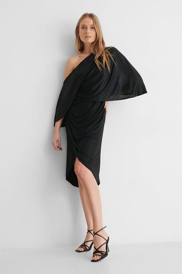 Black Drape Asymmetric Dress