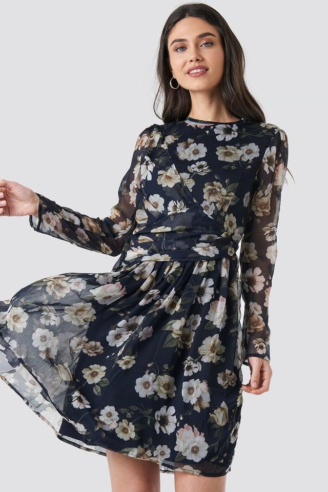 Draped Detail Chiffon Mini Dress Black/Oil Flower