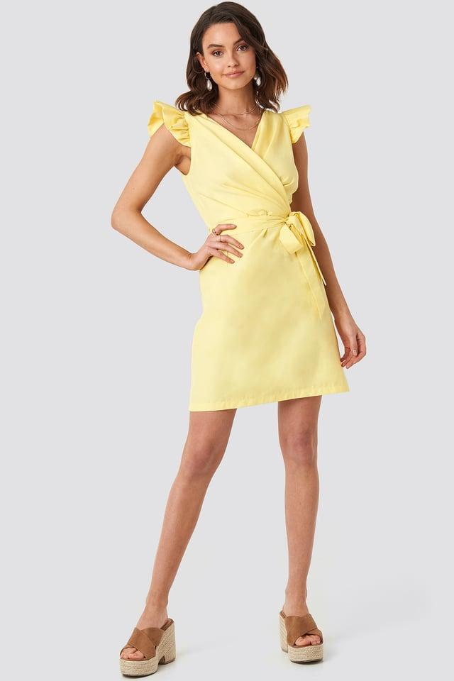 Draped Flounce Sleeve Mini Dress Yellow