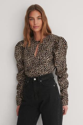 Leopard Draperad, Långärmad Blus Med Nyckelringning