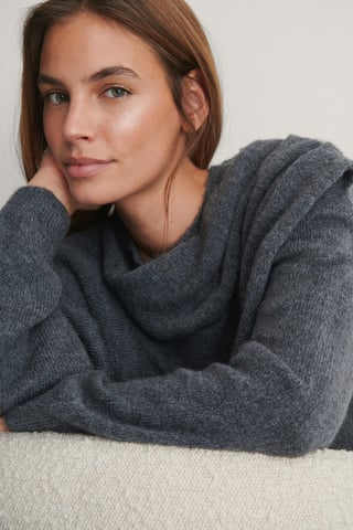 Grey Draped Pleat Knitted Sweater