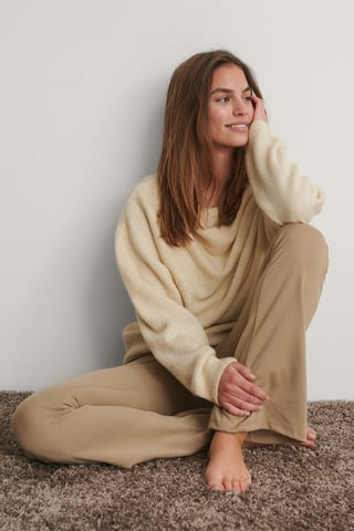 Cream Draped Pleat Knitted Sweater