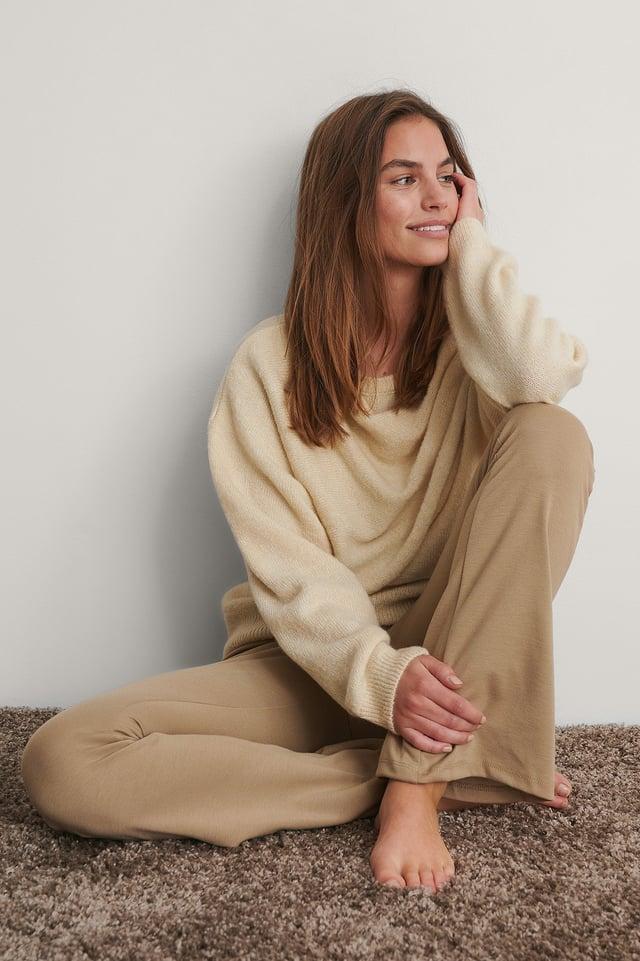 Cream Draped Pleat Knitted Sweater