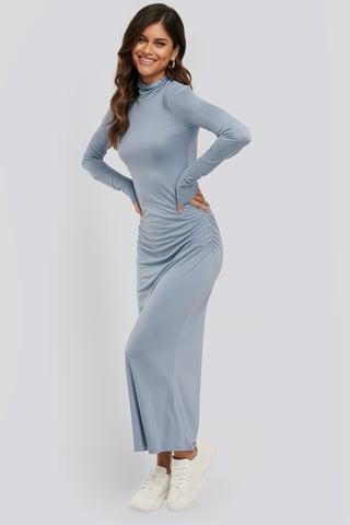 Stone Blue Draped Polo Neck Dress