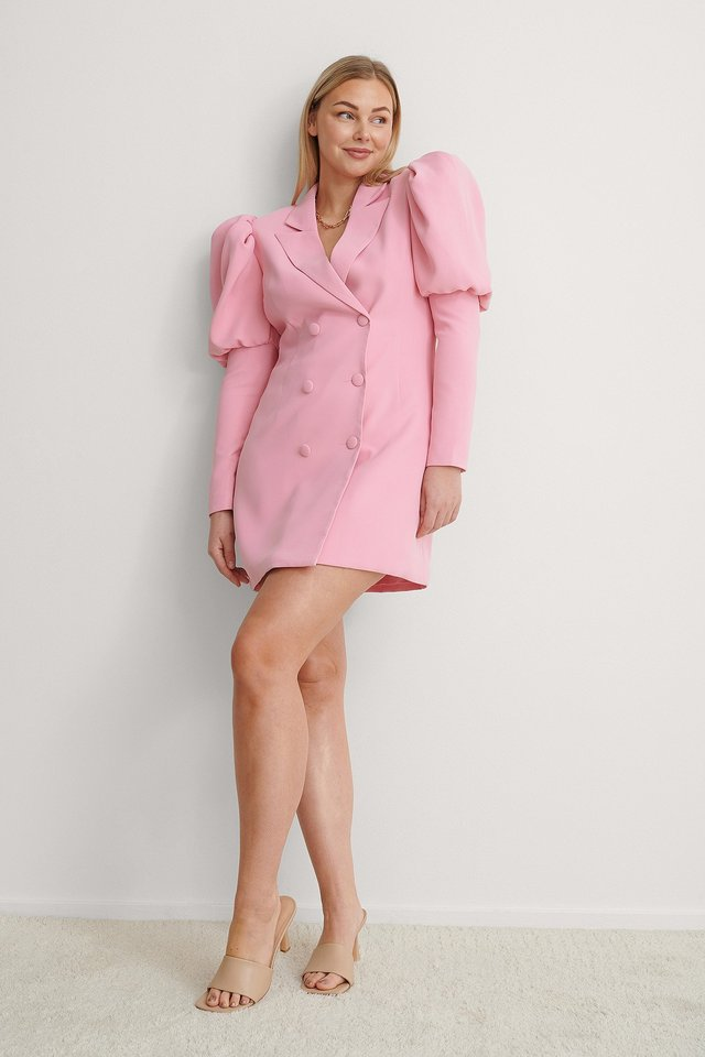 Pink Puffy Sleeve Blazer Dress