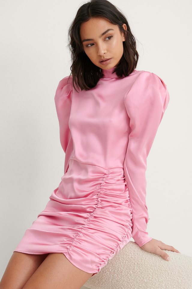 Pink Recycled Draped Puffy Sleeve Dress