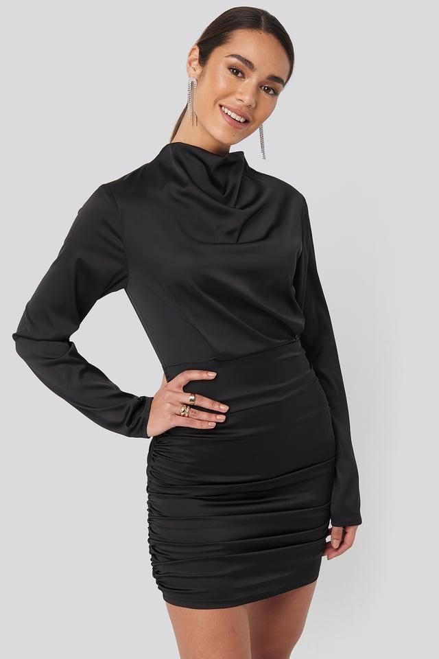 Draped Satin Mini Dress Black