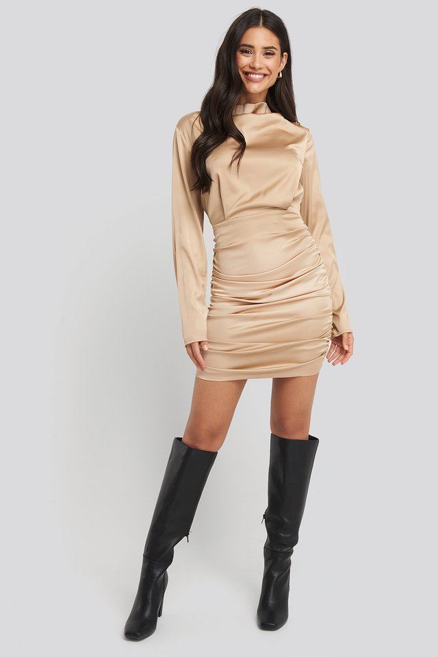 Draped Satin Mini Dress Champagne