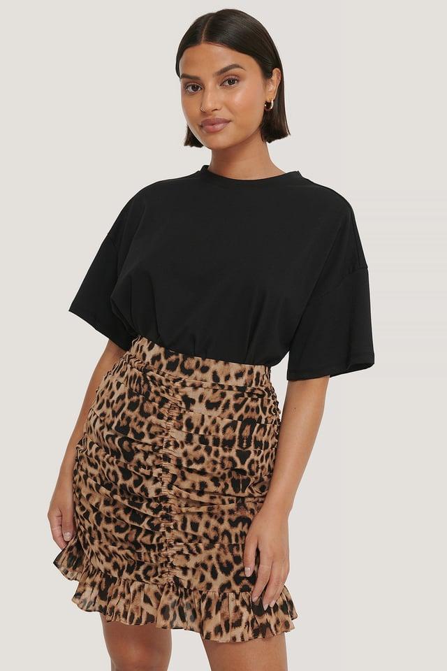 Draped Sheer Mini Skirt Leopard