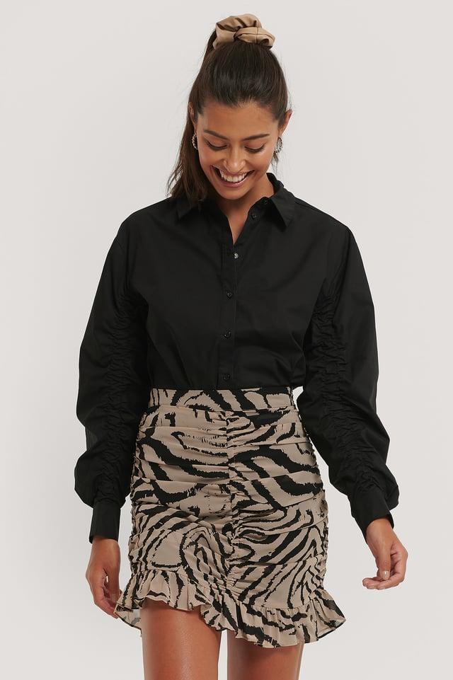 Minifalda Fina Drapeada Zebra