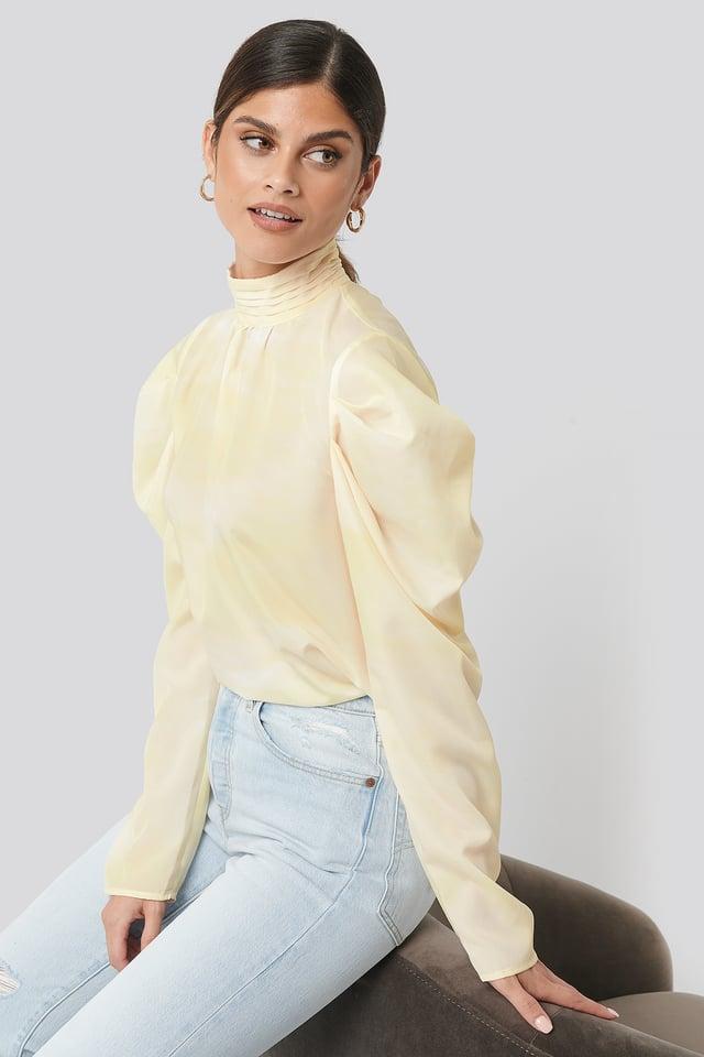 Draped Sleeve Blouse Yellow