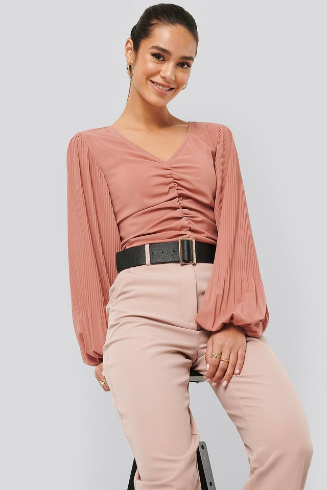 Draped V Front Neck Blouse Whiskey Rose
