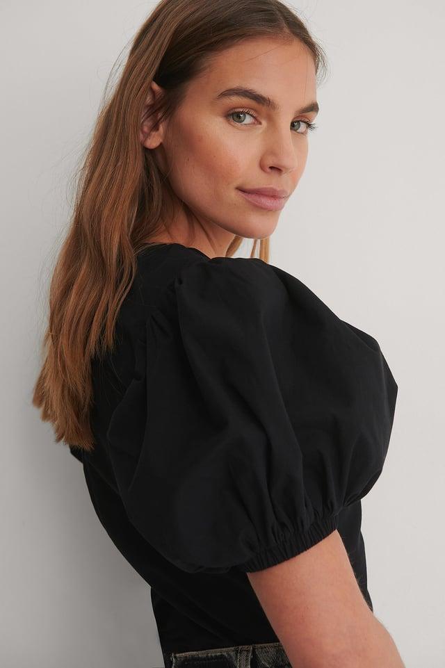 Black Draped V-Neck Puff Sleeve Blouse