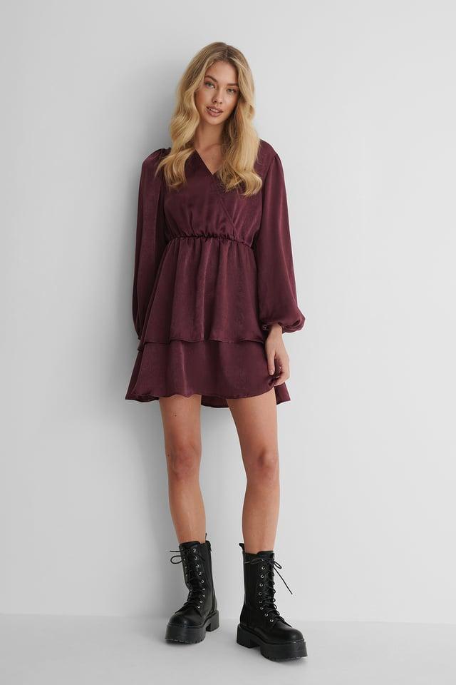 Drapey V-Neck Dress Fig
