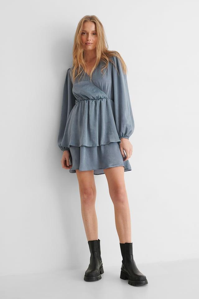 Drapey V-Neck Dress Light Grey Blue