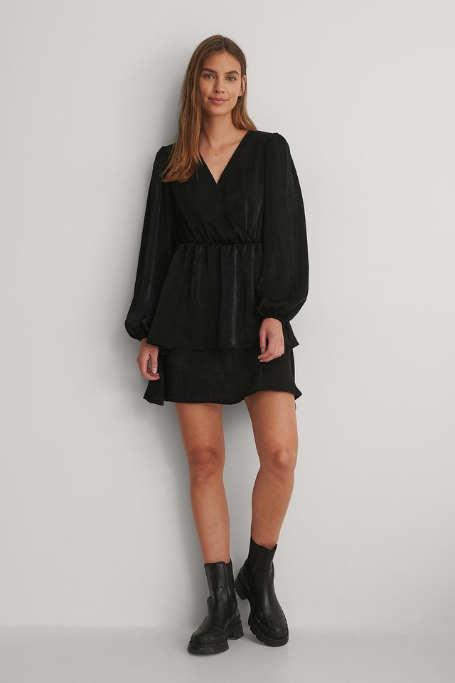 Black Drapey V-Neck Dress