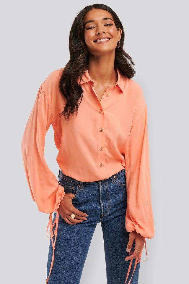 Peach Skjorte Med Ballongermer