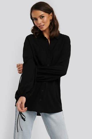 Deep Black Drawstring Balloon Sleeve Shirt