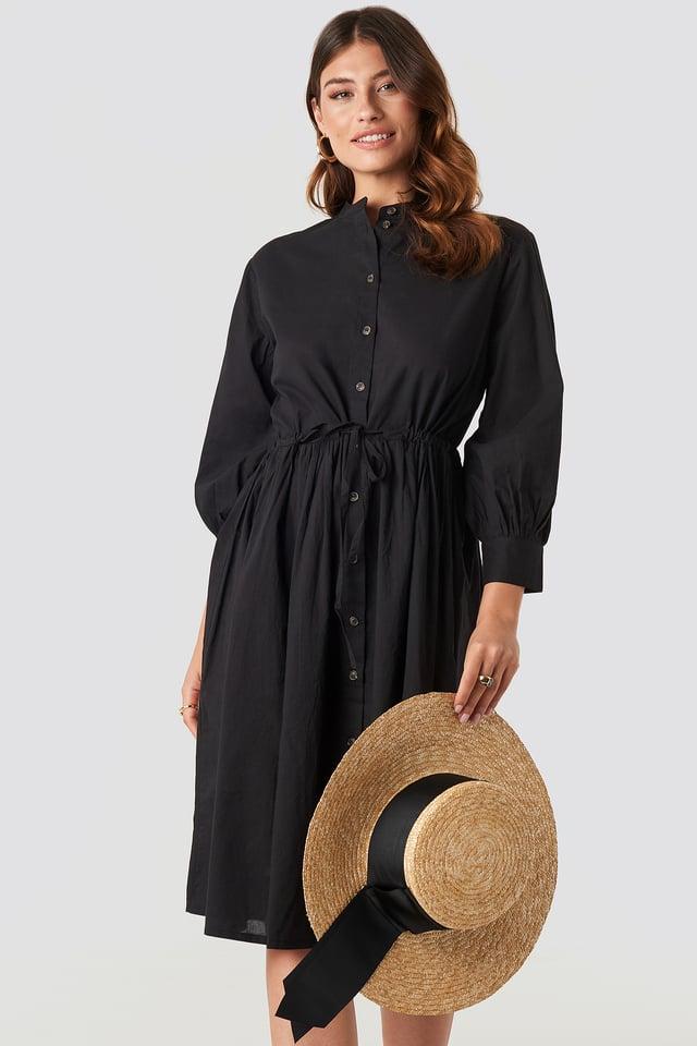 Drawstring Buttoned Shirt Dress Black