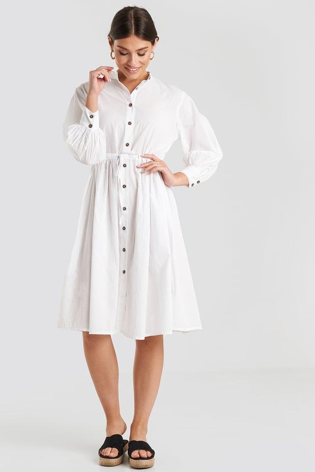 Drawstring Buttoned Shirt Dress White