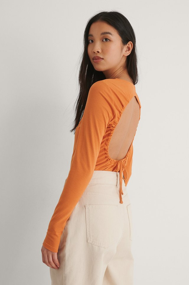 Orange Drawstring Detail Open Back Top