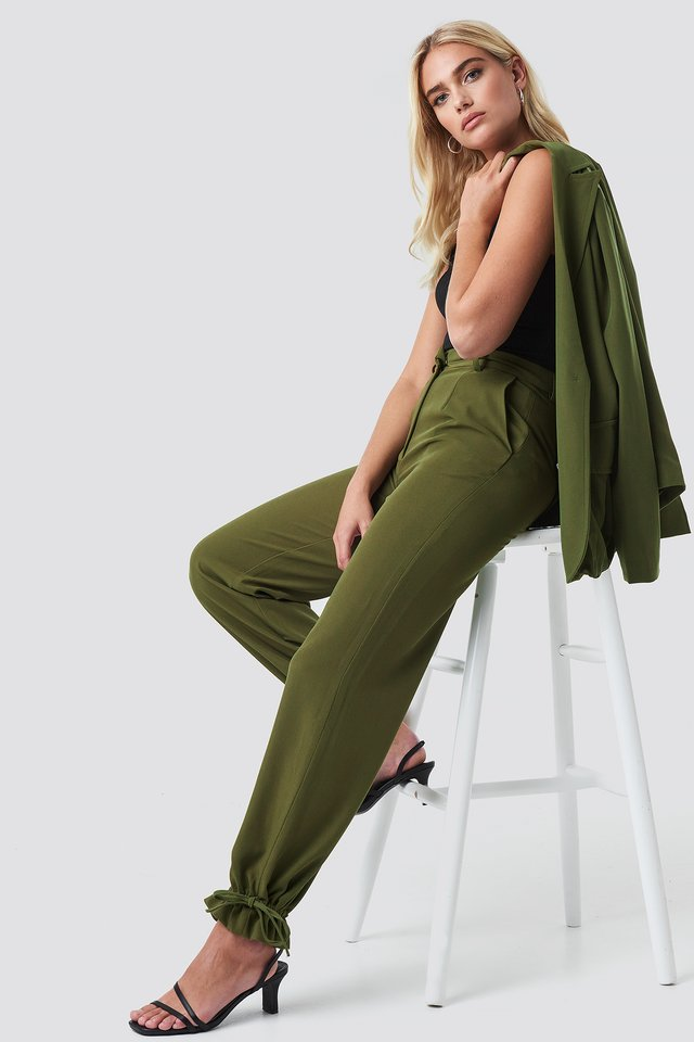 Khaki Green Spodnie Ze Ściągaczami