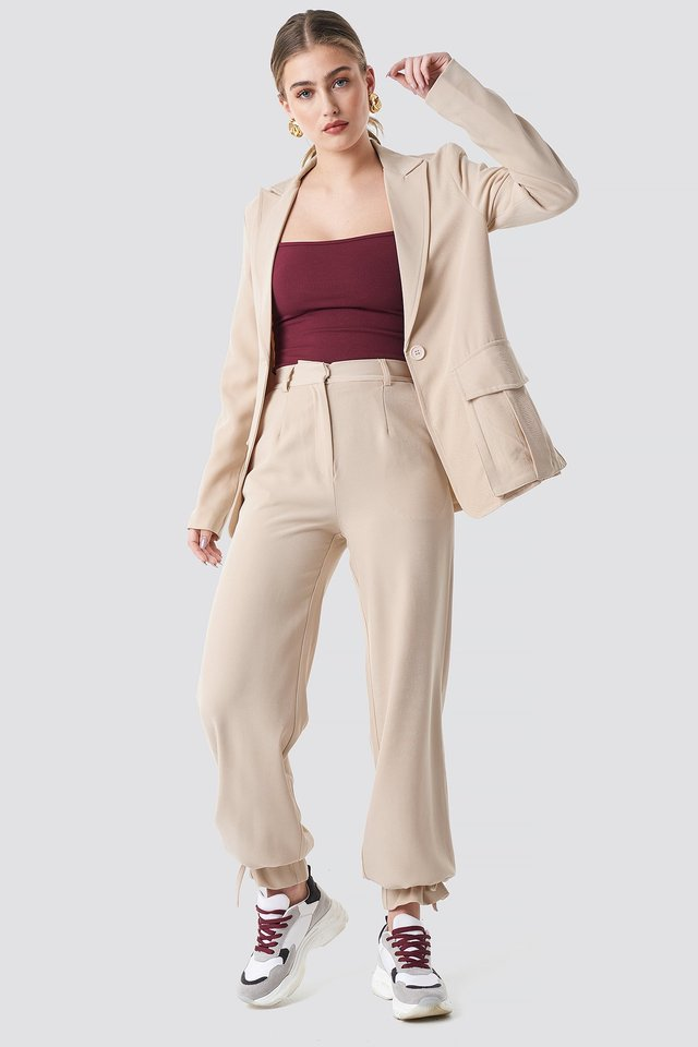 Drawstring Detail Pants Sand