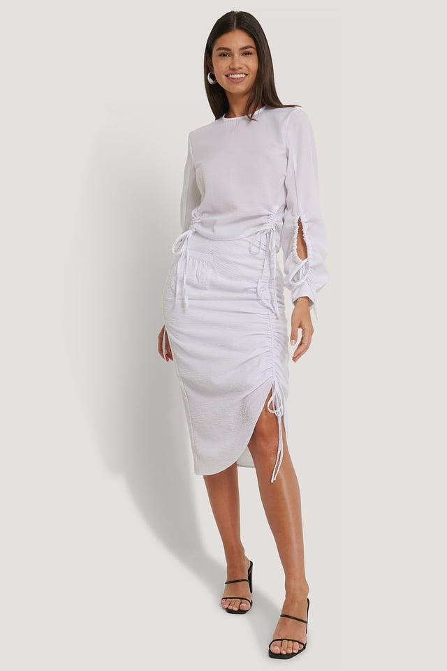 Drawstring Detailed Skirt White
