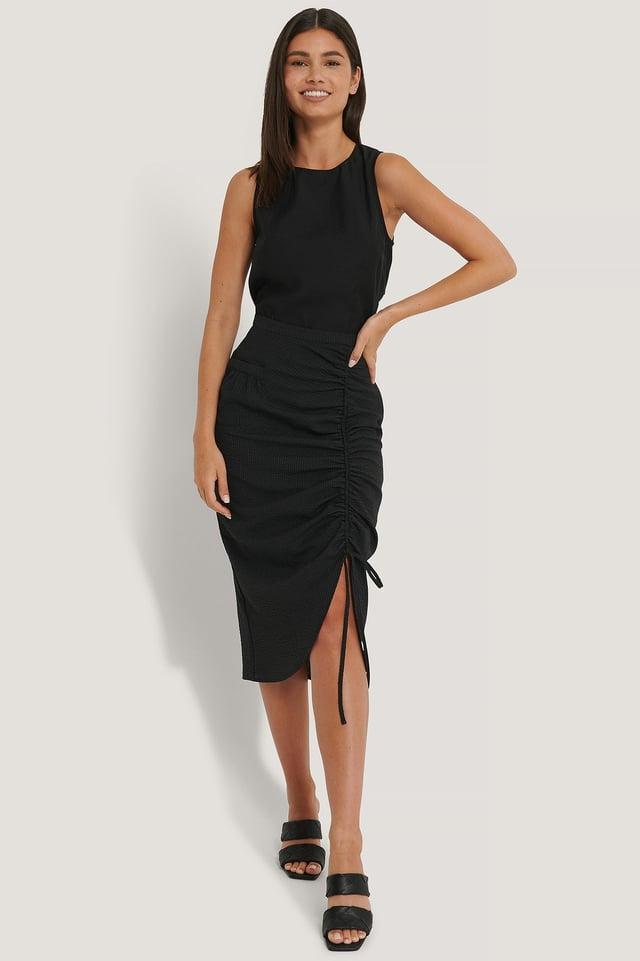 Drawstring Detailed Skirt Black