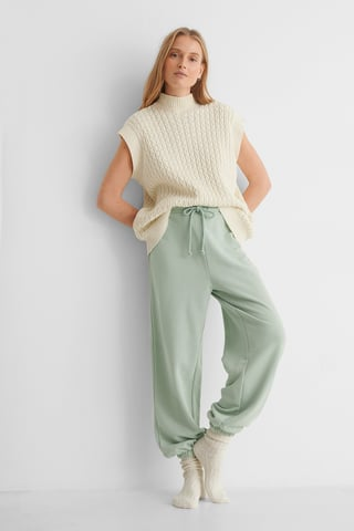 Dusty Green Organic Drawstring Elastic Sweatpants