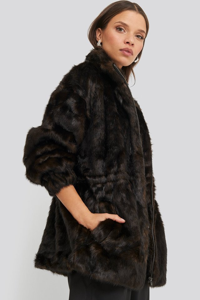 Drawstring Faux Fur Jacket Dark Brown