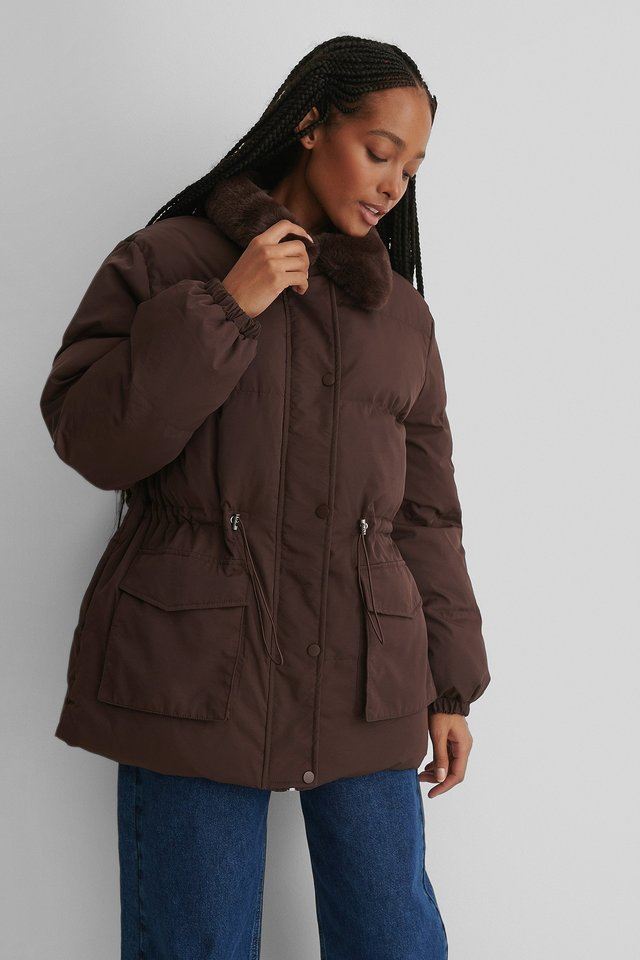 Brown Drawstring Faux Fur Jacket