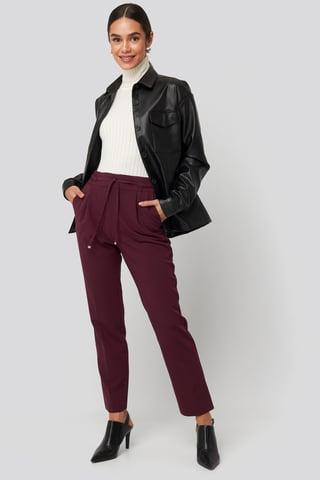 Burgundy Drawstring Front Pleat Pants