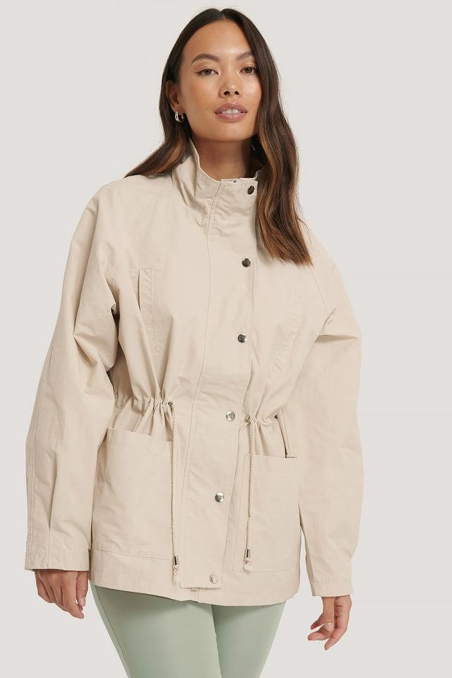 Beige Drawstring Jacket