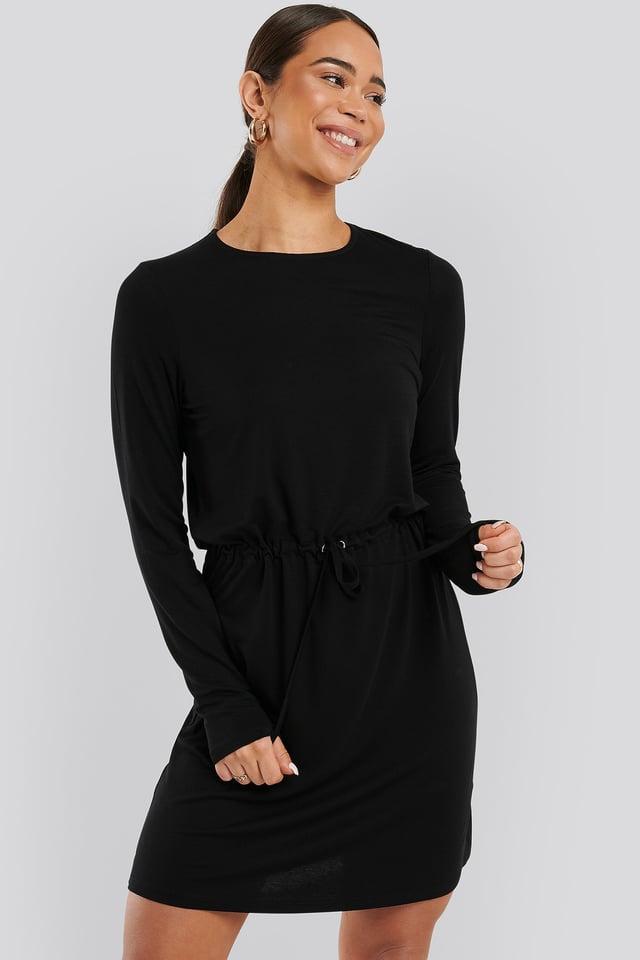 Drawstring Jersey Dress Black