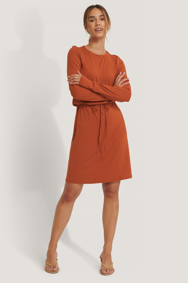 Drawstring Jersey Dress Rust