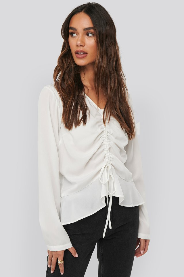 Drawstring Long Sleeve Blouse Offwhite