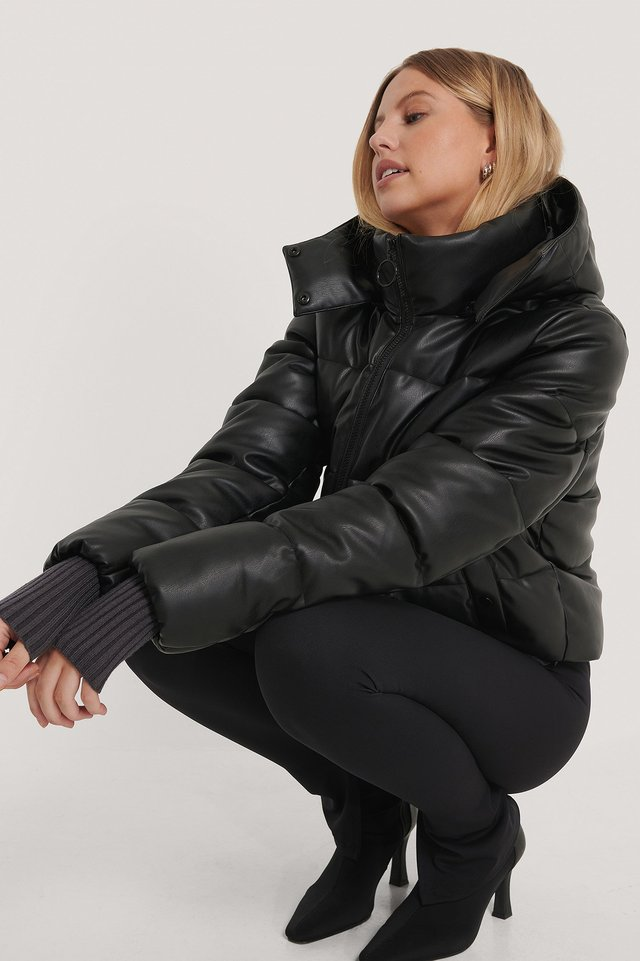 Drawstring Padded PU Jacket Black