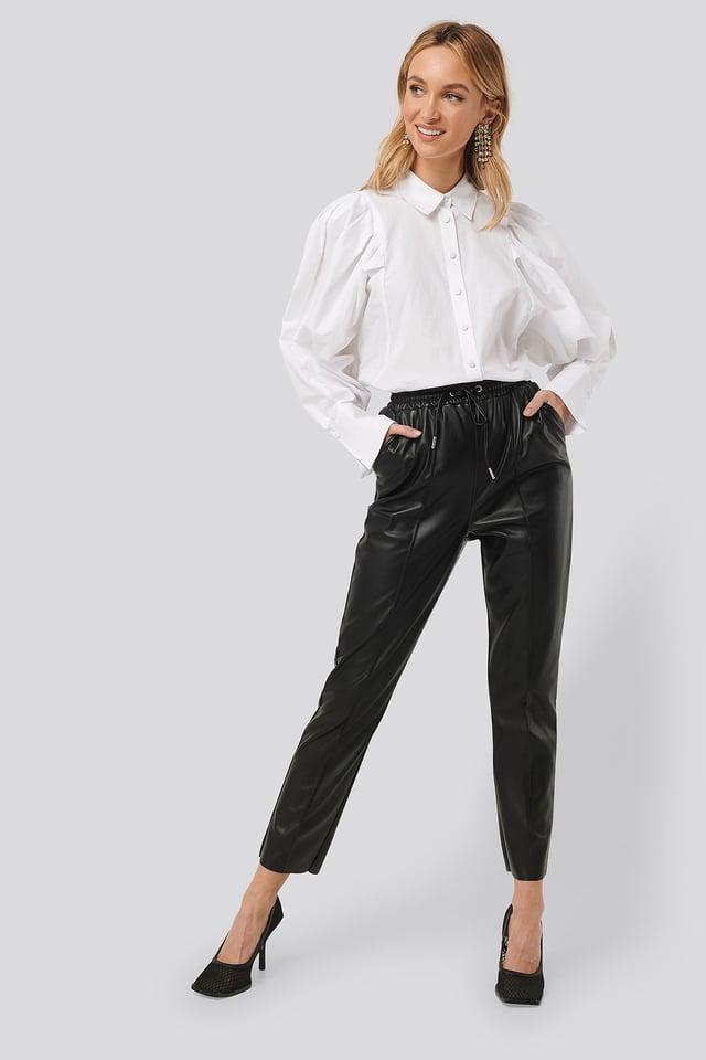 Drawstring PU Seam Detail Pants Black