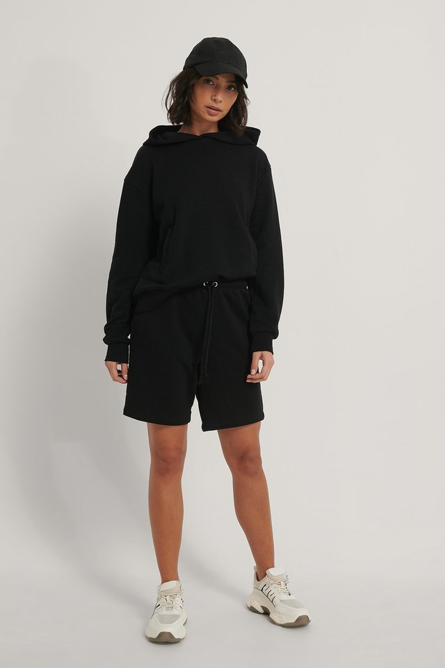 Black Organic Drawstring Sweat Shorts