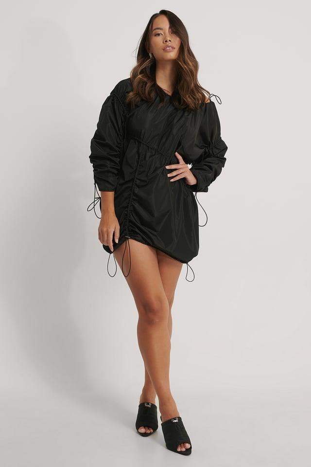 Drawstring Track Dress Black