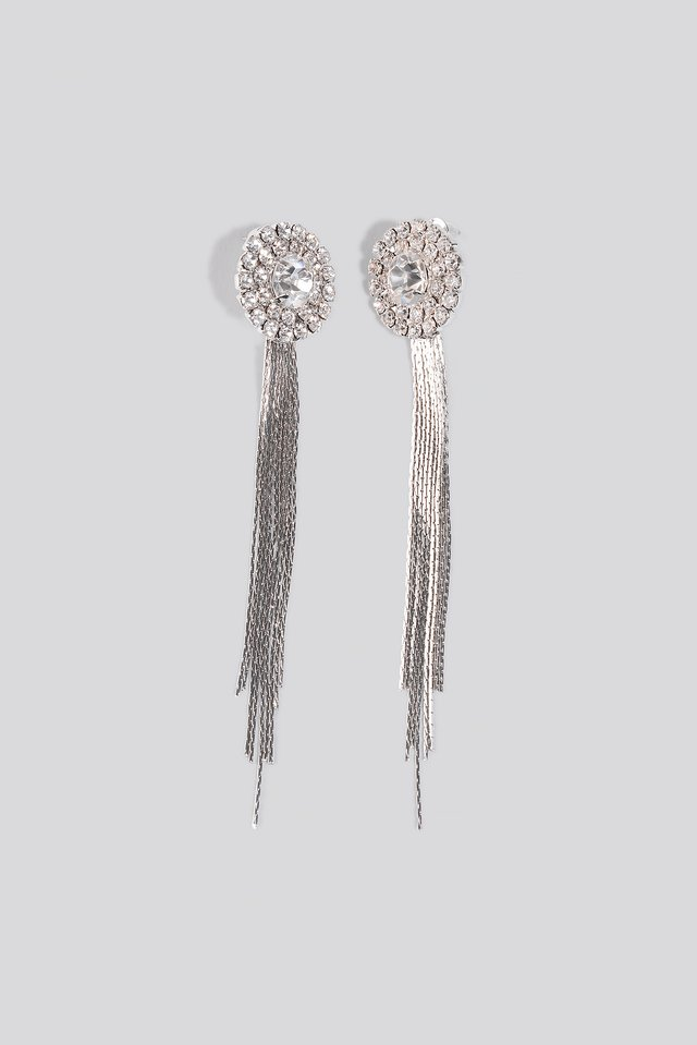 Drop Chain Circle Earrings Silver