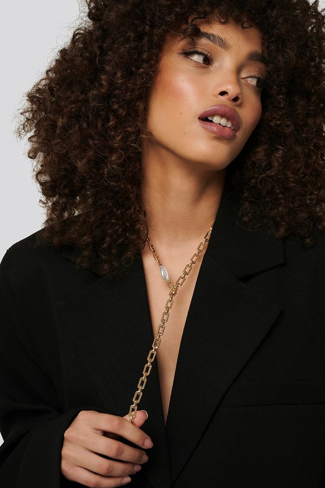 Drop Chain Pearl Detail Necklace Gold